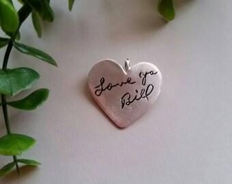 Personalized Fine Silver Heart Pendant