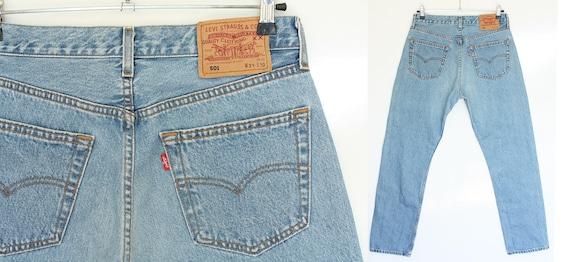Vintage Levis 501 Jeans- High Waist Straight Leg, Medium Wash Button Fly, Distressed Boyfriend Jeans Sz 29