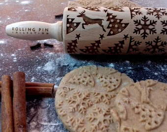 Embossing rolling pin, laser engraved small rolling pin, SNOWFLAKES &CHRISTMAS TREE