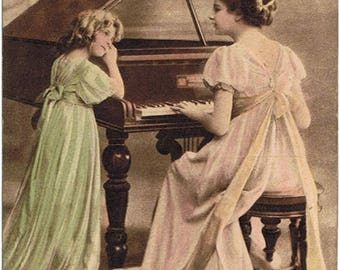 1910 - Piano Lesson in Vienna - Authentic Austrian Vintage Postcard - Victorian Collection - Ephemera - Shabby decor -
