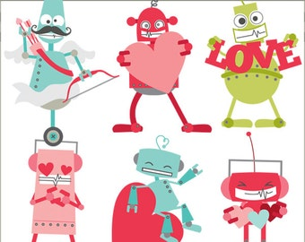 Valentine Clipart Robot Valentines -Personal and Limited Commercial Use- Robot Cupid, Robot Love, Robot with Hearts Clip Art