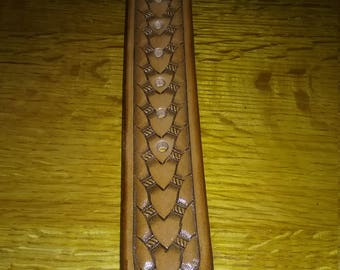 Hand Tooled Leather Belt with Basket Weave Design