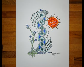 Original Abstract Pen and Ink Drawing on Paper // The Totem Pole of the Sea // House Warming Gift // Ready to Frame Art