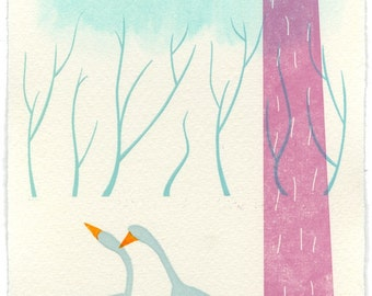 Winter Geese - limited edition letterpress print