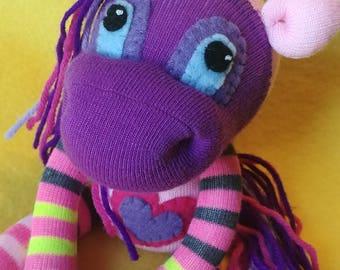 "Aurora - 11.5"" Sock Unicorn Plush - Handmade Plush Doll"