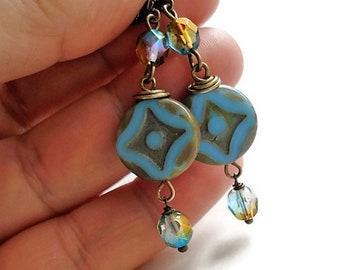 Blue Earrings Glass Jewelry Long Earrings Blue Jewelry Boho Earrings Bead Jewelry Gypsy Earrings Bohemian Jewelry Dangle Earrings Gift Idea
