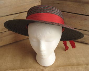 Gran Voga vintage dark gray broad brim hat with red ribbon accent - made in Italy - boater or gondola style, avant garde - size may be 6 7/8