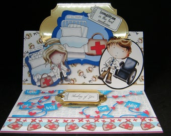 """Get Well Soon Handmade Easel card from the """"La Pashe"""" range - quirky fun card - """"Thinking of You"""""""