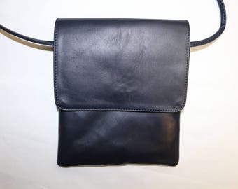 Leather shoulder bag genuine Midnight blue L