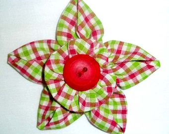Fabric Flower Brooch or Pin in Pink and Green Gingham Check with Vintage Button F-19