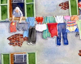 Laundry Room Art, Italian Laundry, Art Prints, Clothes Line, Watercolor art, Watercolor Illustration, Watercolor painting, Laundry artwork
