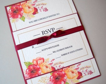 AUTUMN WEDDING INVITATION, Rustic Fall Wedding Invitation Suite, Beautiful Fall Floral Watercolor, Shabby Chic Burgundy, Gold, Peach