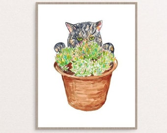 Succulent flower pot cat peeking Painting Wall Poster Watercolor Art Colorful Decor Print Pet Drawing portrait gig funny room nursery grey