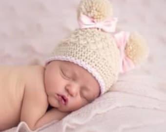 baby girl, newborn, preemie, hat, handmade