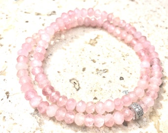 Rose Quartz Bracelet-  Pink Gemstone Bracelet- Double Wrap Stone Bracelet- Heart Energy Gemstone- Mothers Day Gift- Gift for Her