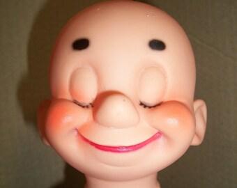 Unusual Vintage Plastic Vinyl Bald Doll Head - Closed Eyes **
