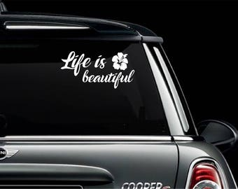 """Life is Beautiful Automobile Car SUV Truck Window Vinyl Decal  Sticker Free US Shipping 6"""" x 3"""""""