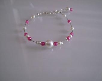 Bracelet jewelry-pink/Fuchsia/ivory p dress original bridal/wedding/party/ceremony/cocktail glass beads Pearl (cheap)
