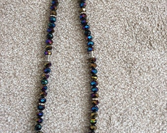 Glass Beaded Necklace in Aurora Borealis colours - Hand crafted