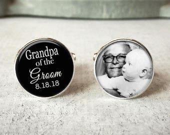 Grandpa Of The Groom Cufflinks, Personalized Cufflinks, Wedding Cuff links, Custom Cufflinks, Photo Cufflinks, Wedding Keepsake