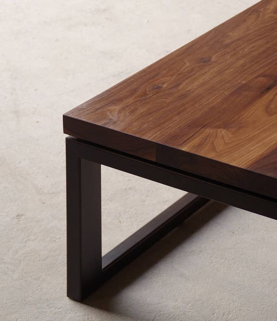 Solid Walnut Coffee Table With Custom Recycled Content Steel