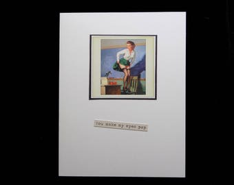 Vintage Pin-Up Blank Card, Hand Made Card