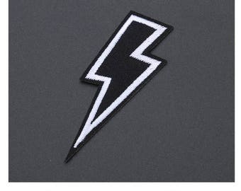 """Lightning Strike Bolt Iron on Embroidered patch (L=2.75"""" W=1.0"""")"""