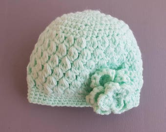 Cute baby hat - newborn - crochet - with a large flower - soft pink
