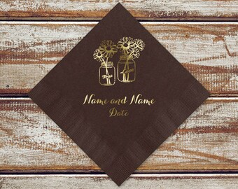 Mason Jars Wedding Paper Napkins | Country Wedding Cocktail Napkins | 100 Rustic Wedding Beverage Napkins | Personalize Paper Napkins