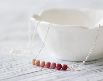 FREE SHIP  Gemstone bar necklace sterling silver necklace rhodonite necklace pink stone bar beaded bar rhodonite jewelry sterling silver 925