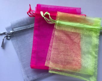 Organza bags in grey or bright pink, 3.5x4.5 size, set of 10 organza gift bags, organza jewelry bags