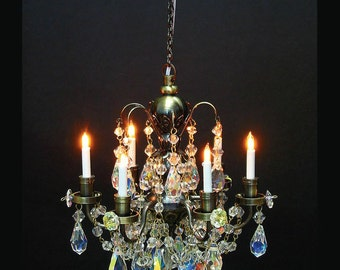 Miniature chandelier etsy 112 scale houseworks miniature dollhouse six arm crystal chandelier aloadofball Image collections