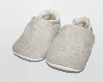 creme baby shoes RTS soft sole baby boy girl shoes tan baby booties linen baby shoes Christining baby shoes vegan shoes wedding baby shoes
