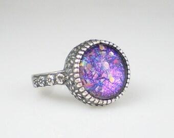 Nail Polish Ring Lavender Pink Confetti Glitter Nail Polish Jewelry