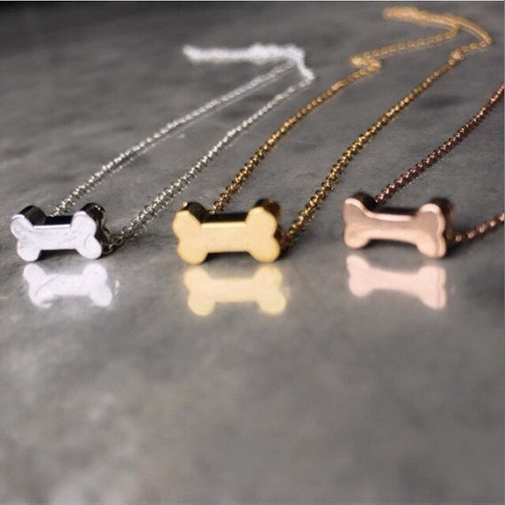 Tiny Gold Dog Bone Necklace