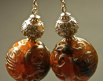 Vintage Chinese ORNATELY CARVED Amber Longevity Shou Bead Earrings, Handmade Bali Gold Vermeil Beads,Handmade Bali Gold Vermeil Ear wires