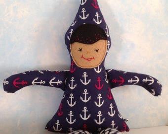 Gnome, gnome doll, Up North GNOMIES, nautical gnome, pocket doll, tiny fabric doll, unique fabric doll