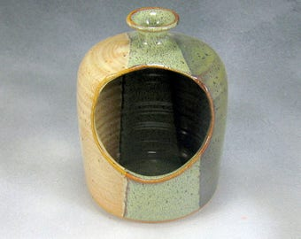 Yellow Green and Brown Ceramic Salt Pig or Pottery Salt Cellar Stoneware Hand Thrown Pottery 1