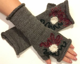 Knitted embroidered fingerless gloves, Finger-less,Fingerless knitted gloves mittens,Kint arm Warmers, CHRISTMAS Gift for her, Wrist warmers