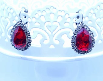 Earrings Crystal Siam, Ruby, silver, pear shape, 14x mm, made with crystals from Swarovski (r)