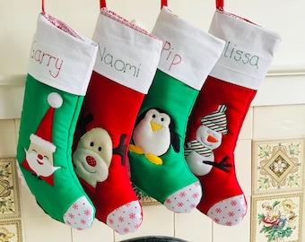Christmas stocking, personalised gift, personalised Christmas stocking, gift for baby, Christmas gift, stocking filler, rudolf,penguins