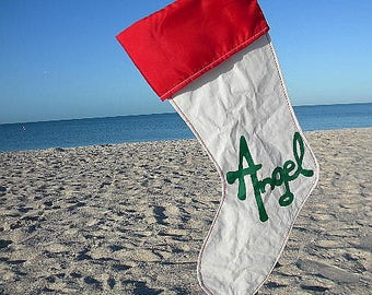 Angel Holiday Stocking hand made from Recycled Sail Cloth