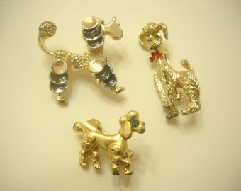 Three French Poodle Scatter Pins (3107)