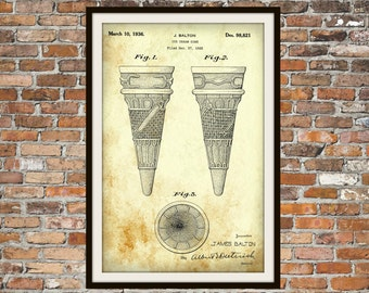Blueprint Art of Ice Cream Cone Patent Technical Drawings Engineering Drawings Patent Blue Print Art Item 0069