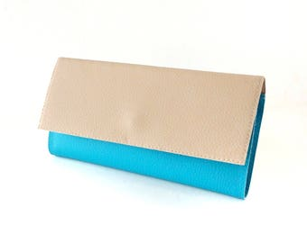 VEGAN Womens wallet leather credit card holder, cash envelope wallet for women, blue turquoise leather purse, ladies wallet women
