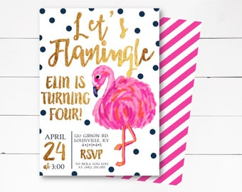 Let's Flamingle Invitation, Flamingo Birthday Invitation, Flamingo Party, Let's Flamingle Birthday Party Invitation, DIY or Printed