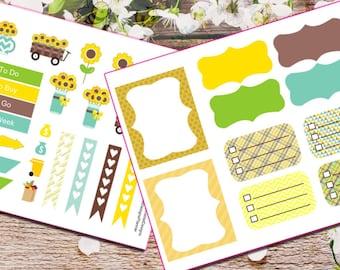 Sunflower Sun Flower Weekly Set Kit Planner Stickers for Erin Condren Life Planner (ECLP) Reminder Sticker LDD1406