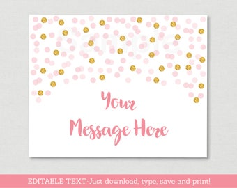 Blush Pink & Gold Bridal Shower Welcome Sign / Glitter Bridal Shower / Glitter Confetti / Blush Pink / Instant Download Editable PDF B109
