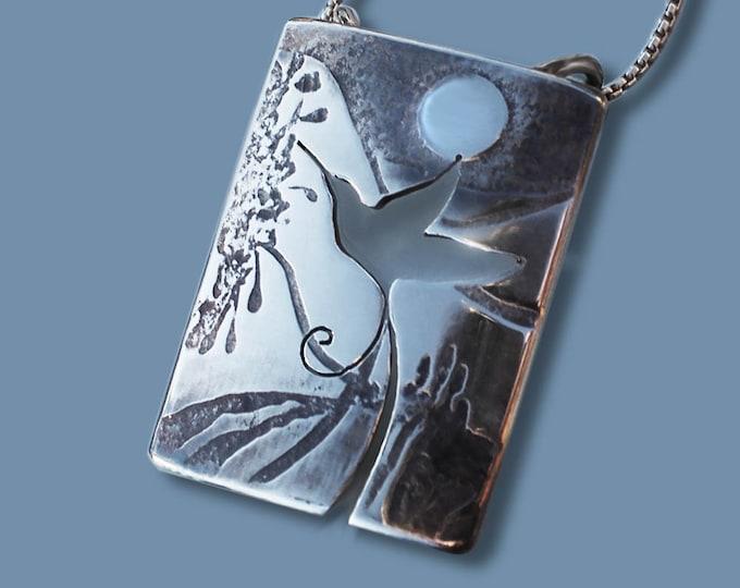 Silver Jewelry, Silver Jewellery, Bird Jewelry, Hummingbird Pendant.