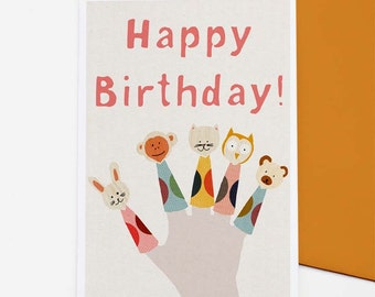 Finger Puppets Birthday card